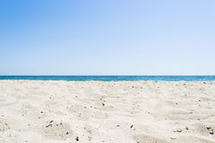 Landscape of beach and sea with blue sky. Landscape of the beach and the sea with a blue sky beautiful landscape Royalty Free Stock Image