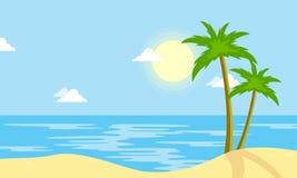 Landscape of beach with sun cartoon Royalty Free Stock Photos