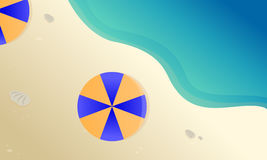 Landscape beach with umbrella vector Royalty Free Stock Image