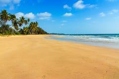 Landscape beach with waves. On blue sky days stock photo