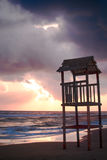 Landscape of beach with the wooden lookout tower Stock Photos
