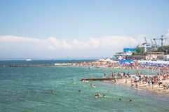 Landscape. Beaches with resting and swimming people. The horizon line. Sunny day. Odessa City, Ukraine, May 2019, summer, america, architecture, beautiful stock photos