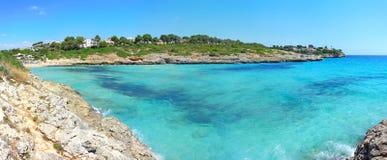 Landscape of the beautiful bay of Cala Anguila with a wonderful turquoise sea. Porto Cristo, Majorca, Spain Stock Photos