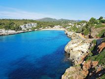Landscape of the beautiful bay of Cala Estany d`en Mas with a wonderful turquoise sea, Cala Romantica, Porto Cristo, Majorca. Spain Royalty Free Stock Photo