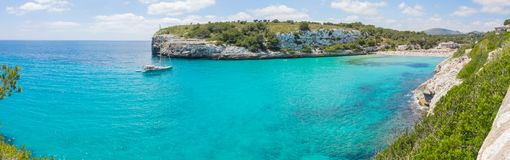 Landscape of the beautiful bay of Cala Estany d`en Mas with a wonderful turquoise sea, Cala Romantica, Porto Cristo, Majorca. Spain Royalty Free Stock Image