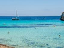 Landscape of the beautiful bay of Cala Estany d`en Mas with a wonderful turquoise sea, Cala Romantica, Porto Cristo, Majorca. Spain Stock Photography