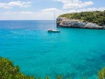 Landscape of the beautiful bay of Cala Estany d`en Mas with a wonderful turquoise sea, Cala Romantica, Porto Cristo, Majorca. Spain Stock Photos