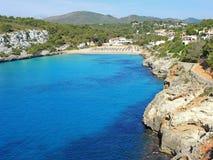 Landscape of the beautiful bay of Cala Estany d`en Mas with a wonderful turquoise sea, Cala Romantica, Porto Cristo, Majorca. Spain Stock Image