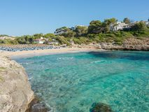 Landscape of the beautiful bay of Cala Romantica, Porto Cristo, Majorc. Landscape of the beautiful bay of Cala Estany d`en Mas with a wonderful turquoise sea Royalty Free Stock Photos