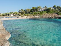 Landscape of the beautiful bay of Cala Romantica, Porto Cristo, Majorc. Landscape of the beautiful bay of Cala Estany d`en Mas with a wonderful turquoise sea Stock Photo