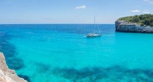 Landscape of the beautiful bay of Cala Estany d`en Mas with a wonderful turquoise sea, Cala Romantica, Porto Cristo, Majorca. Spain Royalty Free Stock Photo