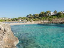 Landscape of the beautiful bay of Cala Romantica, Porto Cristo, Majorc. Landscape of the beautiful bay of Cala Estany d`en Mas with a wonderful turquoise sea Royalty Free Stock Image