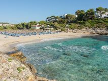Landscape of the beautiful bay of Cala Romantica, Porto Cristo, Majorc. Landscape of the beautiful bay of Cala Estany d`en Mas with a wonderful turquoise sea Royalty Free Stock Images