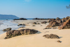 Landscape with beautiful beach against seaview with rocks and a cloudy sky at kata beach, Phuket, Thailand Stock Photography