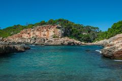 Landscape of a beautiful beach in a summer day on Mallorca, Balearic Island, Spain stock photography