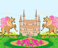 Landscape with a beautiful castle and unicorns Stock Images