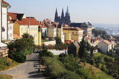 Landscape of the beautiful city of Prague. Stock Photos