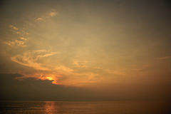 Landscape of beautiful cloudy sky and sea in morning Royalty Free Stock Image
