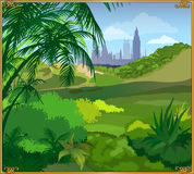 Landscape. Beautiful landscape with green grass, meadow, palm tree, sky, and the castle Stock Images