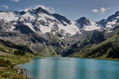 Landscape with beautiful mountain lake stock images
