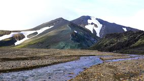 Landscape of the beautiful mountain and the stream of melting snow