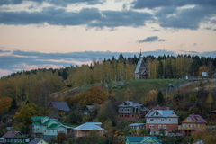 Landscape of beautiful old russian village Plyos Stock Photography
