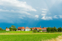 Landscape of a beautiful old village Stock Photos