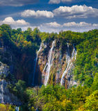Landscape of a beautiful rock with a waterfall Stock Images