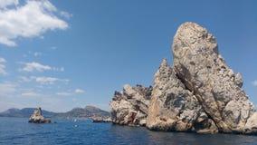 Landscape. Beautiful rocks in medes islands in spain stock photos