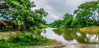 Landscape beautiful scenery of the Ping River in the countryside. Origin of Chao Phraya River. Chiang Dao ,Chiang Mai ,Thailand Royalty Free Stock Photo
