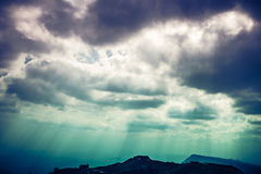 Landscape of beautiful sky with cloudy and sunbeam. Cross proces. The perfect combination of natural beauty, foggy is swinging against beautiful sky with cloudy Royalty Free Stock Photos