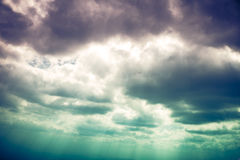 Landscape of beautiful sky with cloudy and sunbeam. Cross proces. The perfect combination of natural beauty, foggy is swinging against beautiful sky with cloudy Royalty Free Stock Image