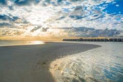 Landscape of beautiful sunset in Maldives island sandy beach wit Stock Photos