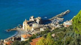 A landscape of a beautiful village, Camogli, Liguria, Italy Royalty Free Stock Photos