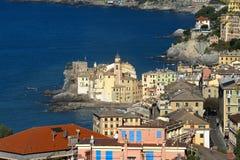 A landscape of a beautiful village, Camogli, Liguria, Italy Stock Photography