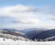 Landscape of beautiful winter in the mountains. Landscape of beautiful winter in the mountain forest Royalty Free Stock Photos