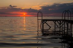 Red sunset at the Dnieper river near the Cherkassy stock photos