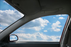 Landscape behind  car window Stock Images