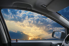 Landscape behind  car window Stock Photos