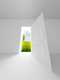 Landscape behind the open door. Royalty Free Stock Images