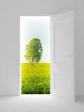Landscape behind the open door. Royalty Free Stock Image