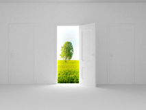 Landscape behind the open door. 3D image Royalty Free Stock Photos