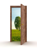 Landscape behind the open door. Royalty Free Stock Photo