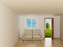 Landscape behind the open door and window. Royalty Free Stock Image