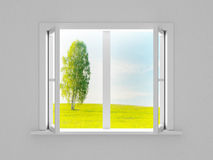 Landscape behind the open window. Royalty Free Stock Photos