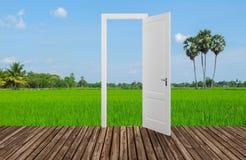 Landscape behind the opening door,3D. Render Stock Photos