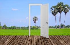 Landscape behind the opening door,3D. Render Stock Image