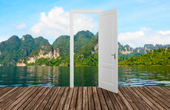 Landscape behind the opening door,3D Stock Photography