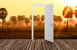Landscape behind the opening door,3D Stock Photos