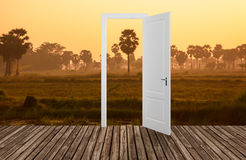 Landscape behind the opening door,3D Royalty Free Stock Images